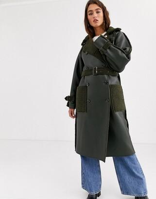 Topshop reversible faux shearling trench coat in khaki