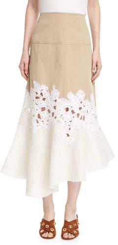Derek Lam Lace-Inset Cotton Twill Midi Skirt