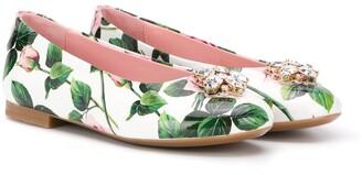 Dolce & Gabbana floral-print ballerina flats