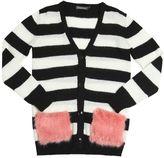 Oversized Striped Wool Blend Cardigan