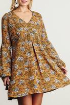 Umgee USA Mustard Floral Mix Dress