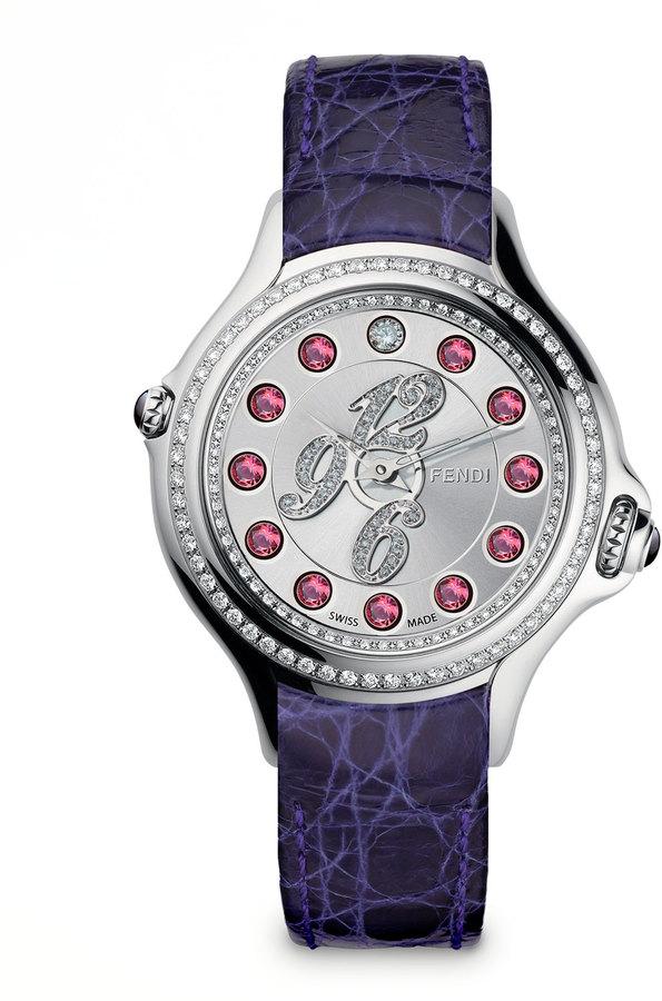 Fendi Pave Crazy Carats Topaz & Diamond Watch with Purple Strap