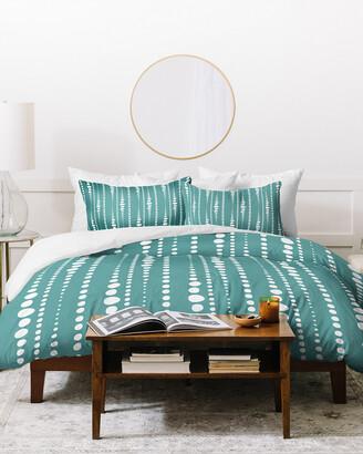Deny Designs Heather Dutton White Dotted Stripes Duvet Cover Set
