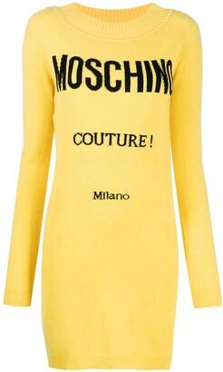 Moschino Intarsia Logo Knitted Dress