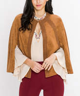 Flying Tomato Camel Faux Suede Cape