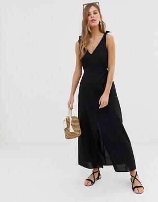 Asos DESIGN tie back linen maxi dress