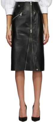 Alexander McQueen Black Leather Pencil Skirt