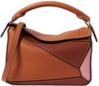 Loewe color block mini puzzle handbag tan