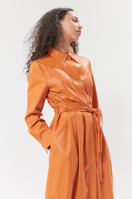 House Of Sunny Balearic Faux Leather Longline Coat