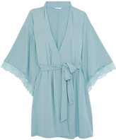 Eberjey Romina Lace-trimmed Stretch-modal Jersey Robe - Light denim