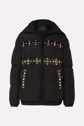 Versace Embellished Quilted Shell Down Coat - Black