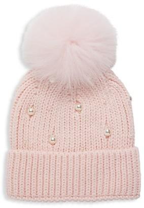 Adrienne Landau Fox Fur-Trim Faux Pearl-Embellished Knit Beanie