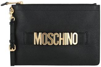 Moschino Logo Leather Wristlet Pouch
