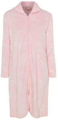George Pink Textured Fleece Zip Up Dressing Gown