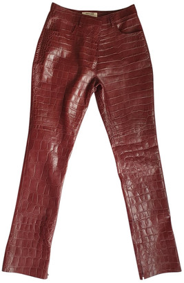 Roberto Cavalli Burgundy Leather Trousers for Women