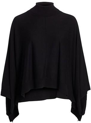 Joan Vass, Plus Size Modern-Fit Turtleneck Poncho Sweater