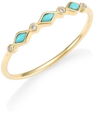 Sydney Evan 14K Gold, Turquoise & Diamond Ring