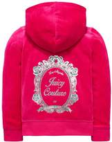 Juicy Couture Girls Velour Floral Mirror Cameo Jacket