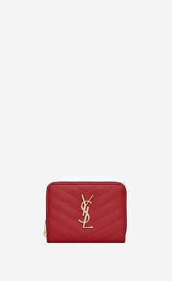 Saint Laurent Monogram Matelasse Slg Monogram Compact Zip Around Wallet In Grain De Poudre Embossed Leather Eros Red Onesize