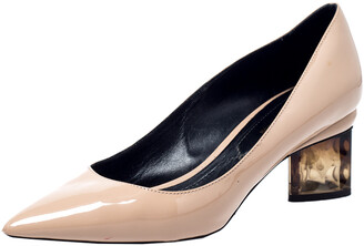Nicholas Kirkwood Beige Patent Leather Pointed Toe Pumps Size 37