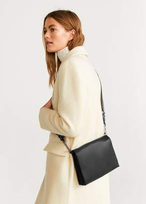 MANGO Flap leather bag black - One size - Women