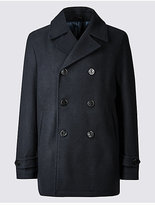 M&S Collection Wool Blend Double Breasted Peacoat