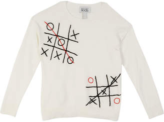 Autumn Cashmere Tic Tac Toe Embroidered Top, Size 8-16