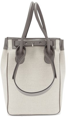 Rodo Small Leather-trimmed Linen Tote Bag - Grey