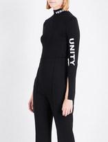 Versace Slogan-print jersey top