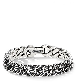 David Yurman Curb Chain Bracelet with Black Diamonds