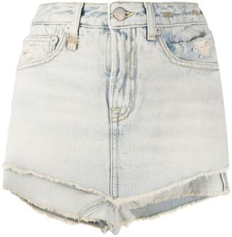 R 13 Ashlyn layered denim shorts