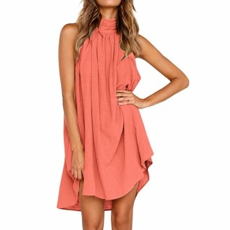Gofodn Dresses for Women Plus Size Summer Solid Casual Sleeveless Loose Holiday Irregular Beach Party Dress 7 Color Pink