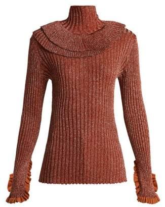 Chloé Metallic Ruffle Trimmed Sweater - Womens - Red