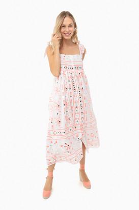 Juliet Dunn Neon Red Cotton Nomad Print Tie Dress