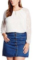 Via Appia Women's Loose Fit Long Sleeve Blouse Off-White Elfenbein (Ecru 950)