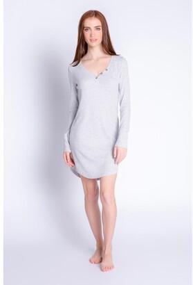 PJ Salvage Textured Lounge Solid Night Shirt, Hear Grey X-Small