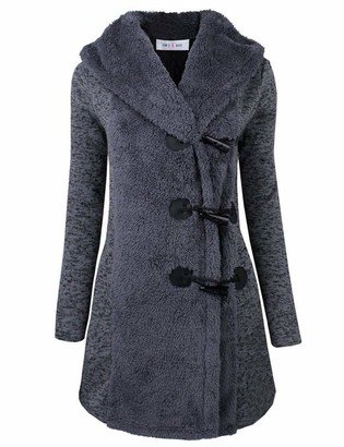 HAHAEMMA Ladies Windbreaker Horn Buckle Hoody Warm Wool Slim Trench Coat Long Coat Jacket Trench Winter Coat Hooded Jacket Sweat Jacket Top Pullover Grey