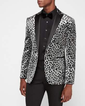 Express Slim Gray Cheetah Velvet Tuxedo Jacket