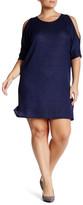 Loveappella 3/4 Length Sleeve Shoulder Cutout Dress (Plus Size)