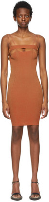 Isa Boulder SSENSE Exclusive Tan and Red Bottle Short Dress