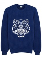 Kenzo Blue Tiger-appliquéd Wool Jumper