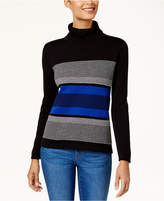 Karen Scott Cotton Striped Turtleneck Sweater, Created for Macy's
