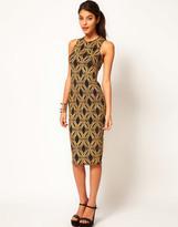 ASOS Body-Conscious Dress in Baroque Glitter Print