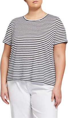 Eileen Fisher Plus Size Striped Organic Linen Jersey Cap-Sleeve Tee