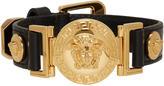 Versace Black Leather Medusa Bracelet