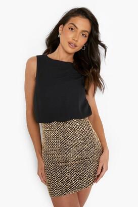boohoo 2 in 1 Chiffon Top Sequin Skirt Bodycon Dress