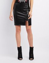 Charlotte Russe Faux Leather Lace-Up Mini Skirt