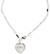 Zales Sterling Silver Anklet with Heart Charm (1-3 Initials)