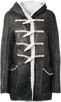 Rick Owens Toogle hooded jacket - women - Jute/Calf Leather/Lamb Skin/Buffalo Bone - 40