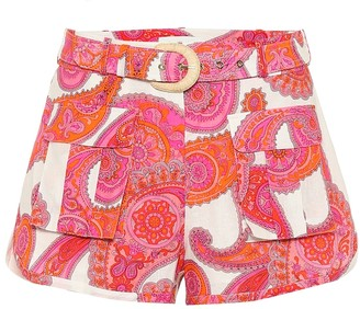 Zimmermann Peggy printed linen-blend shorts